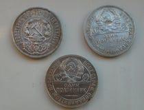 Versilbern Sie 50 Cents des RSFSR, UDSSR Stockbilder