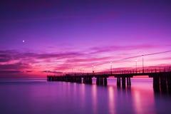 versilia захода солнца пристани Италии Стоковое Фото