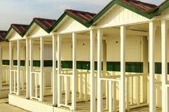 Versilia beach cabins on the sunset Royalty Free Stock Image