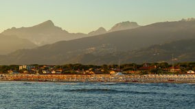 Versilia coast view on the sunset Royalty Free Stock Image