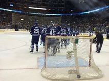 Version 2-Air Canada Centre. Toronto Maple Leafs post game celebration royalty free stock image