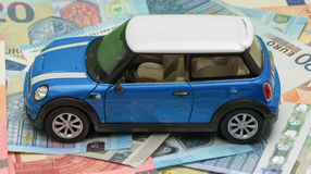 Version 2013 bleu-clair de voiture de Mini Cooper Photos libres de droits