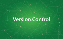 Version control white text illustration with green constellation as background. Vector royalty free illustration