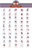 Version d'ensemble d'icône de 50 sites Web, rouge et bleue Image stock