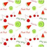 Version de blanc d'illustration de modèle de fruit frais Image stock