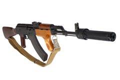 Version de Roumain de la kalachnikov AK 47 avec le dispositif antiparasite sain (silencieux) photos stock