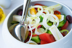 Version of greek salad (with eggs). One of the possible versions of traditional mediterranean greek salad (with eggs Royalty Free Stock Photos