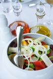 Version of greek salad (with eggs). One of the possible versions of traditional mediterranean greek salad (with eggs Stock Photo