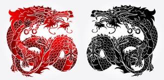 Versione nera e rossa del drago asiatico astuto Immagini Stock
