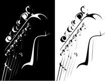 Versione nero-bianca della chitarra elettrica illustrazione di stock