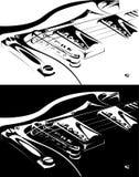 Versione nero-bianca della chitarra elettrica Immagine Stock