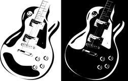 Versione nero-bianca della chitarra elettrica Fotografie Stock Libere da Diritti