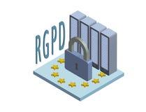 Versione spagnola ed italiana di RGPD, di versione di GDPR, dati di dei di protezione della sulla del generale di Regolamento Con illustrazione di stock