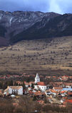 Versione villaggio-verticale della montagna Fotografie Stock