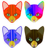 4 Versions of a colorful head of a cat. A red, hot version and a blue and a black cool version and a rainbow queer version of the head of a cat, each with a Stock Photo