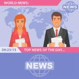 Verslaggevers en wereldnieuws Royalty-vrije Stock Foto's
