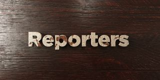 Verslaggevers - grungy houten krantekop op Esdoorn - 3D teruggegeven royalty vrij voorraadbeeld stock illustratie