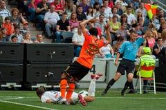 Verslavend spel tussen het FC Shakhtar Donetsk van het teamsogenblik en Bayer Leverkusen Stock Afbeeldingen