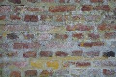 Versleten Doorstane Vuile Rode Bakstenen muurachtergrond Royalty-vrije Stock Afbeelding