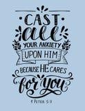 Verso de la biblia hecho que mano las letras echan toda su ansiedad sobre él, porque él cuida para usted libre illustration