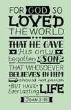 Verso de oro Juan 3 de la biblia 16 para dios así que amados el mundo, hecho letras de la mano stock de ilustración
