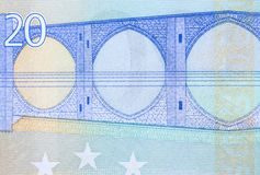 Verso 20 do euro com a ponte, tiro macro Foto de Stock