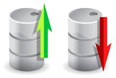 Verso l'alto e verso il basso illustrazione di prezzi del petrolio Immagini Stock