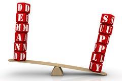 Versorgung überwiegt Nachfrage Der Überschuss stock abbildung