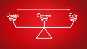 Versorgung, Nachfrage und stabile Skalaillustration des Preises im roten Hintergrund lizenzfreie stockfotografie
