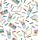 Versorgungen für das Zeichnen Nahtloses Muster Lizenzfreie Stockfotografie