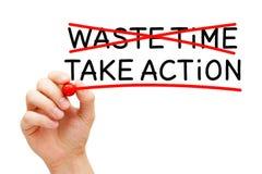 Verspil geen Tijd voeren Actie stock foto's