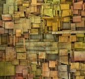 Versplinterde oranje, roze en gele vierkante bac van het tegel grunge patroon Stock Foto
