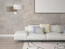 Verspotten Sie herauf ein modernes Wohnzimmer mit einem stilvollen Sofa Stockbilder