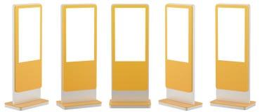 Verspotten Sie herauf fünf schwarze Informations-Anzeigen Fahnen-Stände in Ihrem Entwurf Wiedergabe 3d stock abbildung