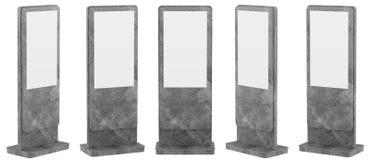 Verspotten Sie herauf fünf schwarze Informations-Anzeigen Fahnen-Stände in Ihrem Entwurf Wiedergabe 3d vektor abbildung