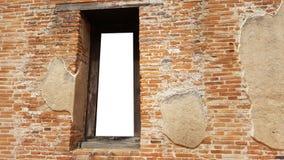 Verspotten Sie herauf leeren alten Ziegelsteinfenster-Ziegelsteintempel außerhalb historischen Lizenzfreies Stockfoto