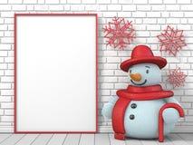 Verspotten Sie herauf leeren Bilderrahmen, Schneemann und rotes Eis am Stiel Lizenzfreies Stockfoto