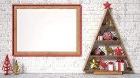 Verspotten Sie herauf leeren Bilderrahmen, Weihnachtsdekoration und Geschenke 3d übertragen Stockfotografie