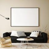 Verspotten Sie herauf leeres Plakat auf der Wand des Hippie-Wohnzimmers, stock abbildung