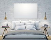 Verspotten Sie herauf leeres Plakat auf der Wand des Schlafzimmers, Hintergrund der Illustration 3D Stockbilder