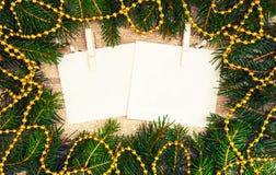 Verspotten Sie herauf, mit Tannenzweigen, Weihnachten, neues Jahr Lizenzfreies Stockbild