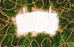 Verspotten Sie herauf, mit Tannenzweigen, Weihnachten, neues Jahr Stockfotografie