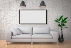 Verspotten Sie herauf Plakat, großes Sofa, Betonmauerhintergrund, illustrat 3d stockfoto