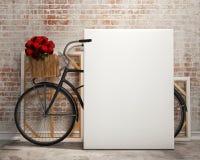 Verspotten Sie herauf Plakat im Dachbodeninnenhintergrund mit Fahrrad Stockbild