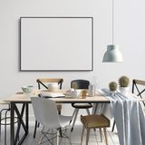 Verspotten Sie herauf Plakat im Innenraum mit Speiseraum Wohnzimmer modern Stockfotos