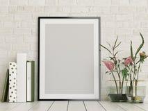 Verspotten Sie herauf Plakat, leerer Rahmen mit Blumen und bucht Dekor, vektor abbildung
