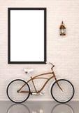 Verspotten Sie herauf Plakat mit Fahrrad und kupfernem Lampeninnenraum Stockfotografie