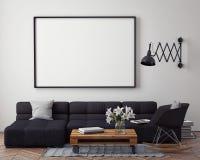Verspotten Sie herauf Plakat mit Innenhintergrund des modernen Dachbodens, stockbilder
