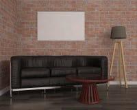 Verspotten Sie herauf Plakat mit schwarzem Sofa, Illustration 3d Lizenzfreie Stockbilder