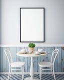 Verspotten Sie herauf Plakat mit Weinlesehippie-Caférestaurant-Innenraumhintergrund Stockbilder